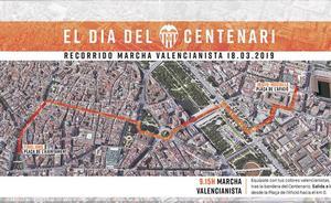 Horario y recorrido de la marcha del Centenario del Valencia CF