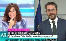 El exministro Máximo Huerta vuelve al plató de Ana Rosa Quintana