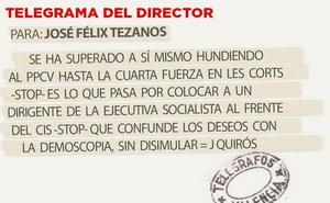 Telegrama para José Félix Tezanos