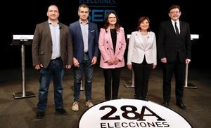 El primer debate de candidatos valencianos evidencia la división en dos bloques como alternativas para gobernar