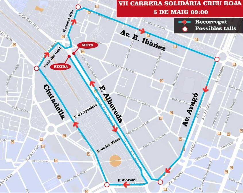 Calles cortadas en Valencia por la Carrera de la Cruz Roja 2019: horario y recorrido