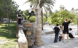 'Parkour' sobre columnas medievales en Valencia