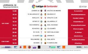Los horarios de la última jornada de Liga: Europa y el descenso se juegan el sábado, pero a horas distintas