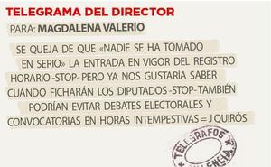 Telegrama para Magdalena Valerio