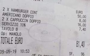 Timo a unos turistas en Italia: dos hamburguesas y tres cafés por 81 euros