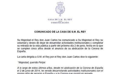 Carta del Rey emérito Juan Carlos I a Felipe VI
