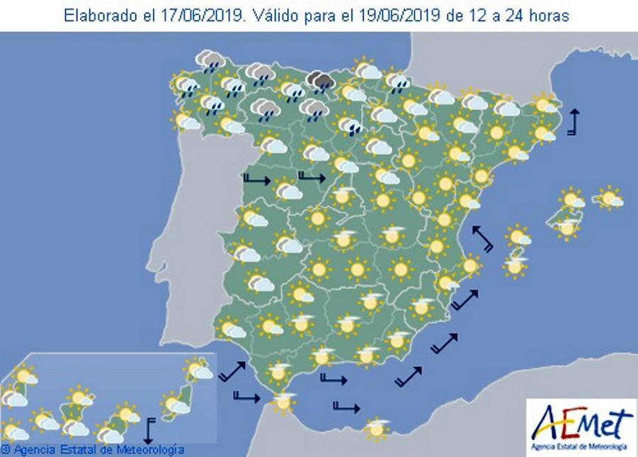 Aemet: Previsión del tiempo para el miércoles 19 de junio en toda España