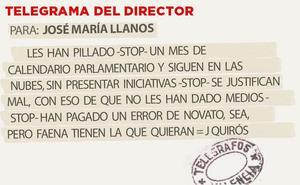 Telegrama para José María Llanos