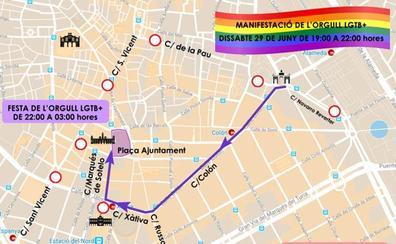 Calles cortadas hoy sábado en Valencia por la manifestación del Orgullo LGTB+, la Feria de julio y una carrera solidaria