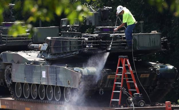 Preparativos para el desfile del 4 de julio en Washington. /AFP