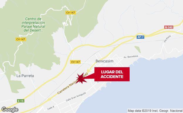 Un motorista de 27 años fallece de madrugada en la N-340 en Benicàssim