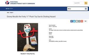 Disney retira los juguetes de Forky, la estrella de 'Toy Story 4', tras detectar riesgo para los niños