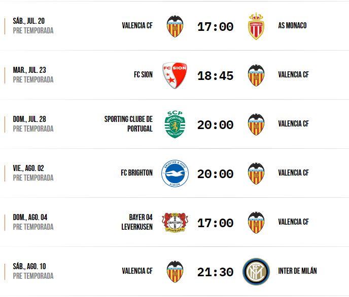 Valencia CF vs Sion: horario y dónde ver por televisión el partido de pretemporada