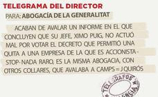 Telegrama para Abogacía de la Generalitat