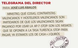 Telegrama para José Luis Ábalos