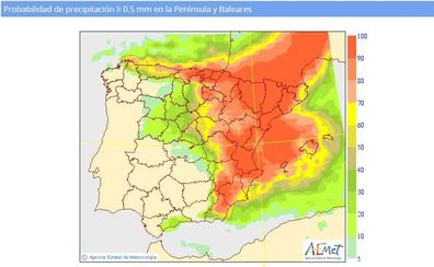 Previsión del tiempo: llega la lluvia y las temperaturas se desploman hasta 9º en Valencia