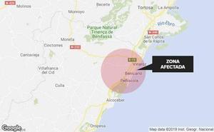 La tormenta provoca el corte de varias carreteras en el litoral norte de Castellón