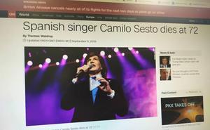 La muerte de Camilo Sesto en la prensa internacional