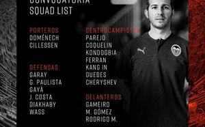 Nuevo técnico, misma convocatoria en el Valencia CF