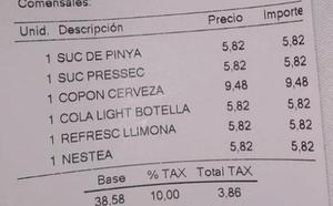 Sablazo en el centro de Barcelona: 43 euros por cinco refrescos y una cerveza