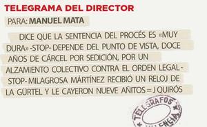 Telegrama para Manuel Mata