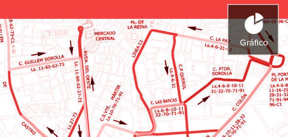 La mitad de líneas de la EMT que llegan a la plaza del Ayuntamiento harán transbordo