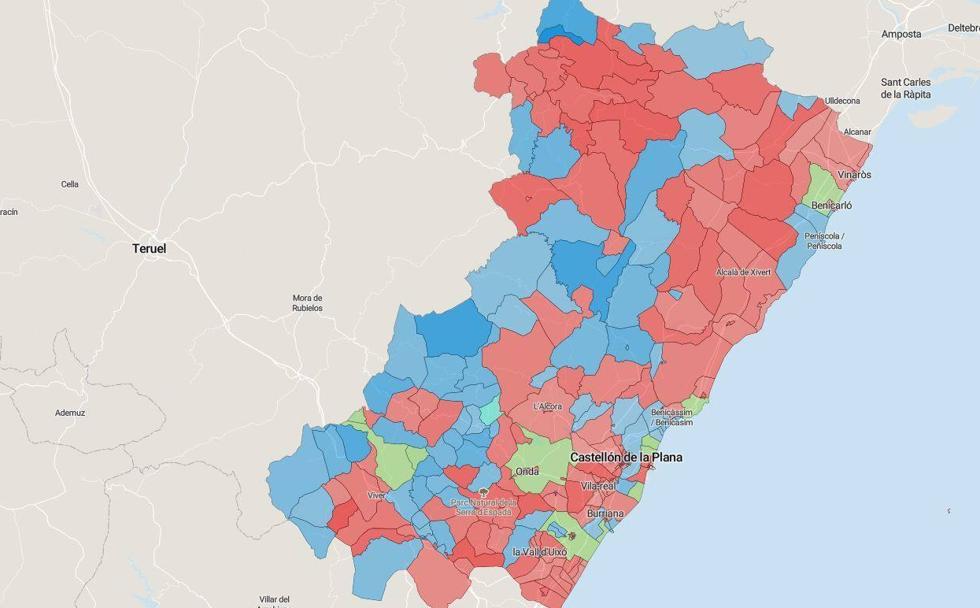 Mapa Provincia Castellon Municipios.Mapa Del Resultado De Las Elecciones Del 10n En Castellon