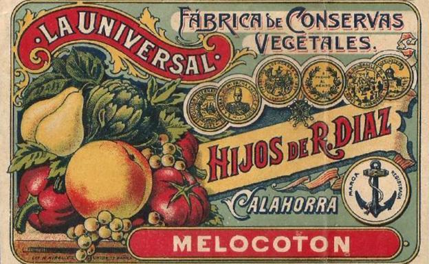 Etiqueta de melocotón en conserva de 'La Universal', Calahorra (La Rioja).