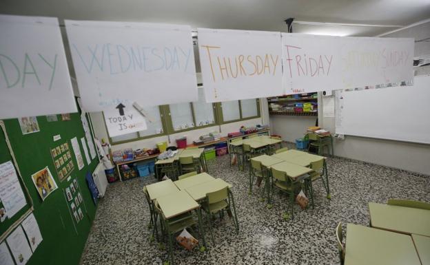 Aula de un centro escolar durante la pandemia del coronavirus./Jesús Signes