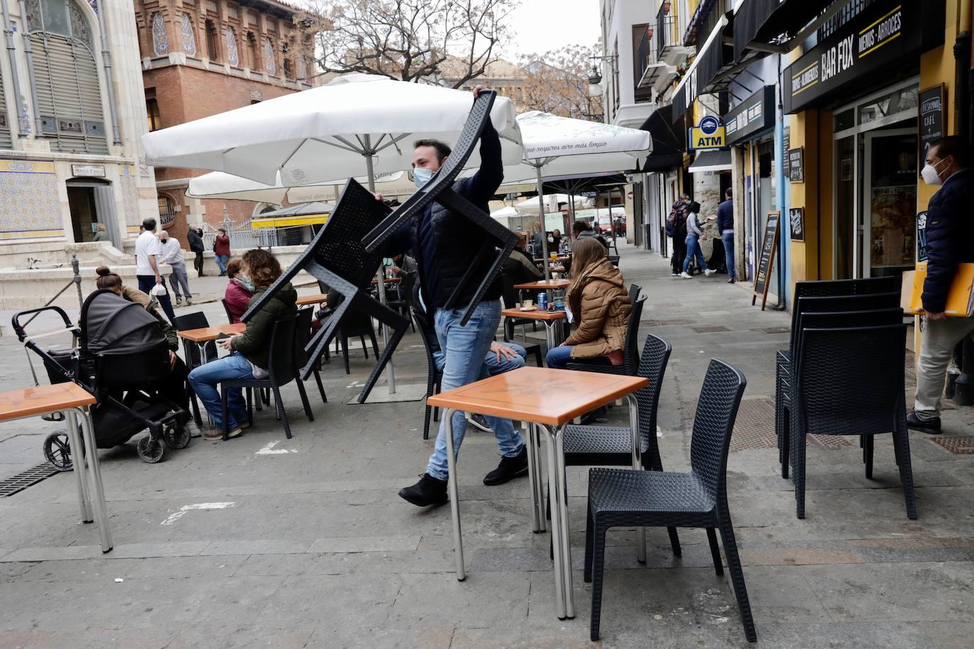 Una terraza, este lunes en Valencia. /Irene Marsilla