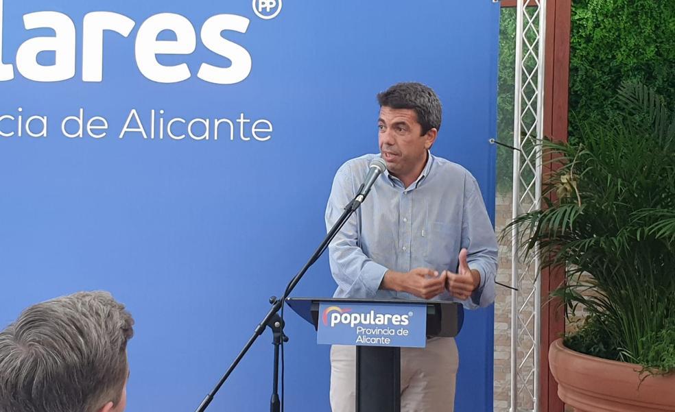 Mazón: «Agua, financiación... ¿a qué espera Puig para declararse en rebeldía frente a Sánchez?»