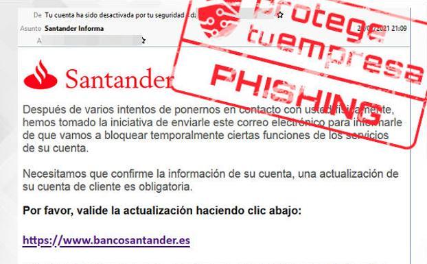 Un e-mail de 'phishing' suplanta al Banco Santander./INCIBE