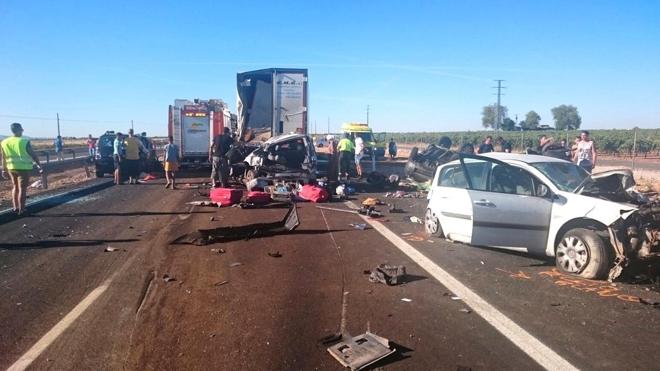 Detenido el conductor de un camión por un accidente múltiple en Ciudad Real con dos muertos