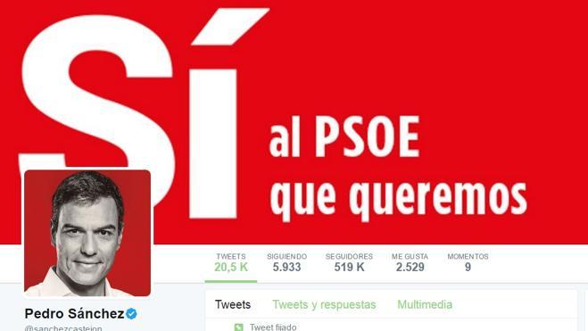 Pedro Sánchez quintuplica en seguidores en Twitter a Susana Díaz, pero es el menos retuiteado