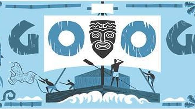 El biólogo Thor Heyerdahl en el doodle de Google