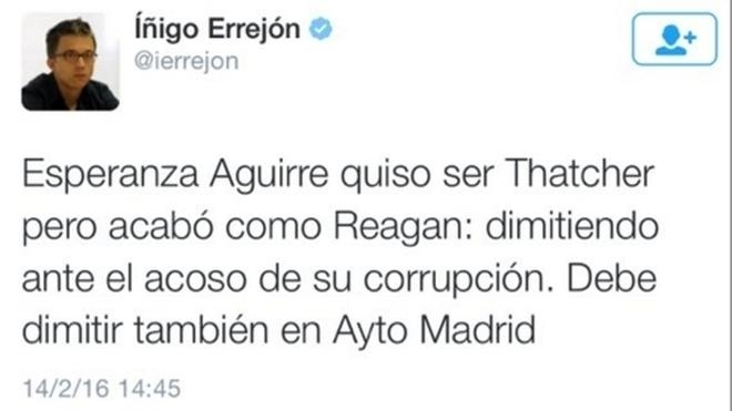 Errejón confunde a Reagan con Nixon en Twitter
