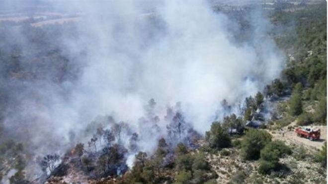 Los equipos de extinción atajan el fuego en Ayora